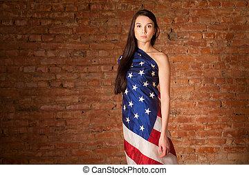drapeau, femme, américain