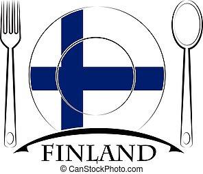 drapeau, finlande, logo, fait, nourriture