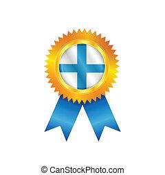 drapeau, finlande, médaille