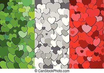 drapeau, fond, cœurs, fait, italien