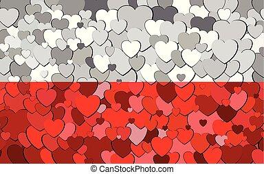 drapeau, fond, cœurs, fait, polonais