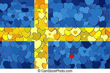 drapeau, fond, cœurs, fait, suédois