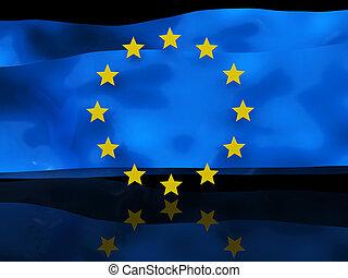 drapeau, fond, européen