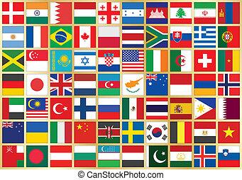 drapeau, fond, icônes