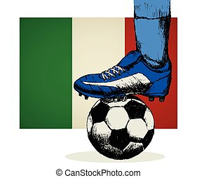 drapeau, football, Italie, chaussures