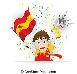 drapeau, football, ventilateur, dessin animé, espagne