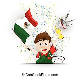 drapeau, football, ventilateur, dessin animé, mexique