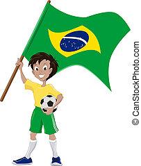 drapeau, football, ventilateur, tient, brésilien