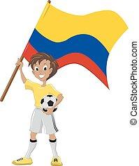 drapeau, football, ventilateur, tient, colombien