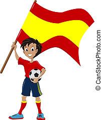 drapeau, football, ventilateur, tient, espagnol