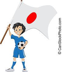 drapeau, football, ventilateur, tient, japonaise