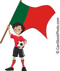 drapeau, football, ventilateur, tient, portugal
