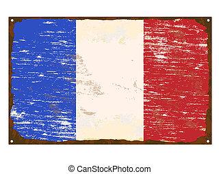 drapeau, francais, émail, signe
