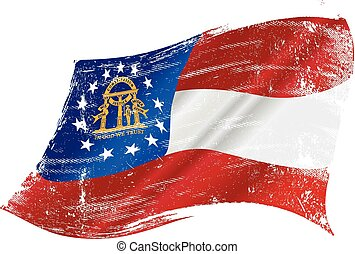 drapeau, géorgie, grunge