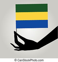 drapeau, gabon, main