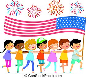 drapeau, gosses, américain
