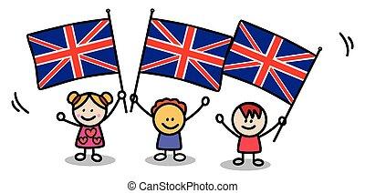 drapeau, gosses, angleterre