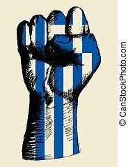 drapeau grec, poing