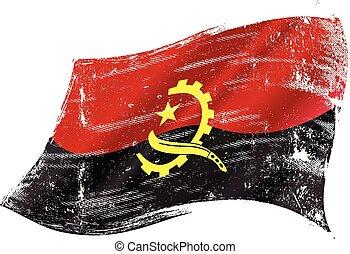 drapeau, grunge, angolais