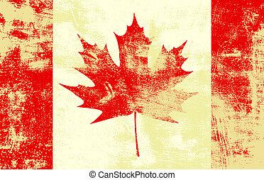 drapeau, grunge, canadien