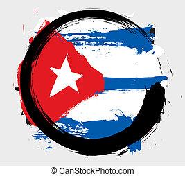 drapeau, grunge, cuba
