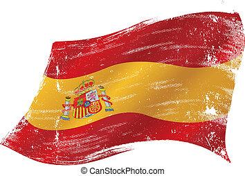 drapeau, grunge, espagnol