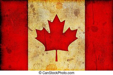 drapeau, grunge, illustration, canadien