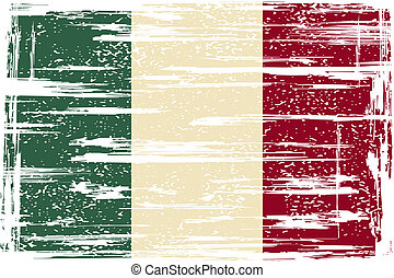 drapeau, grunge, italien