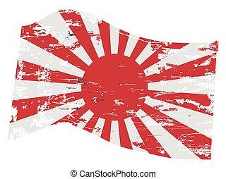 drapeau, grunge, japonaise