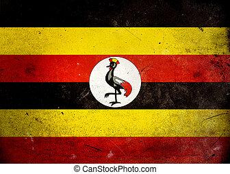 drapeau, grunge, ouganda