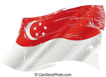 drapeau, grunge, singapour