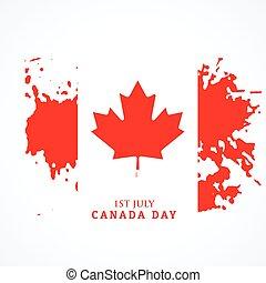 drapeau, grunge, style, canadien