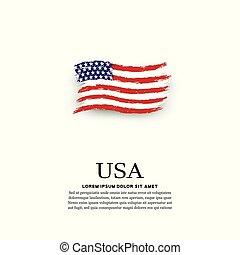 drapeau, grunge, style, usa