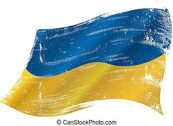 drapeau, grunge, ukrainien