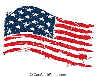 drapeau, grunge, usa