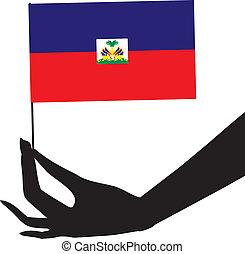 drapeau, haïti, main