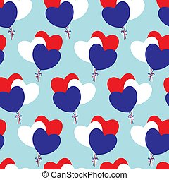 drapeau, hearts-balloons, colors., francais