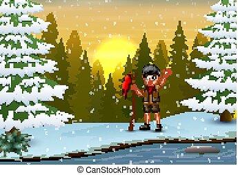 drapeau, hiver, scout, garçon, rouges, paysage