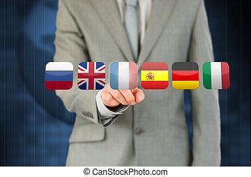 drapeau, homme affaires, francais, urgent