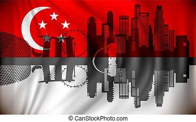 drapeau, horizon, singapour