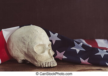 drapeau, humain, américain, crâne