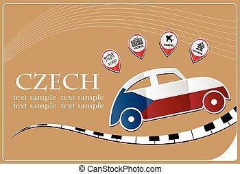 drapeau, icône, fait, tchèque, voiture