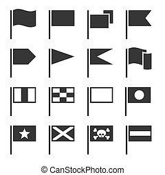 drapeau, icônes, ensemble