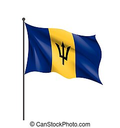 drapeau, illustration, barbade, vecteur
