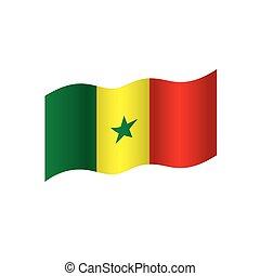 drapeau, illustration, sénégal, vecteur