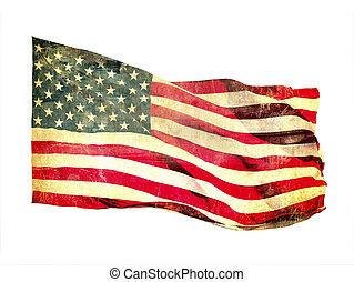 drapeau, image, grunge, américain