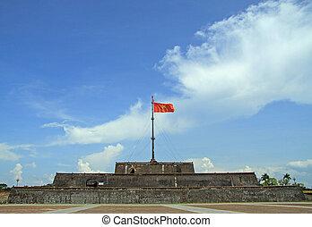 drapeau, impérial, intérieur, tour, citadelle