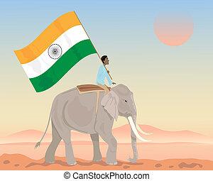 drapeau, inde, éléphant