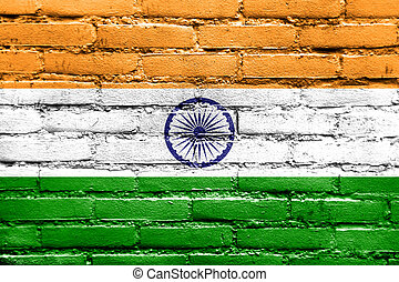 drapeau inde, peint, sur, mur brique