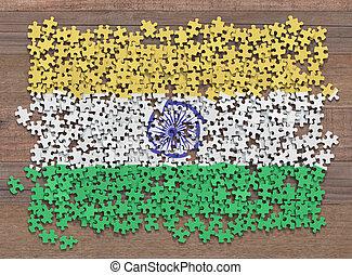 drapeau, inde, puzzle